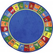 Animal Phonics Round Classroom Rug (7'7