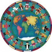 Hands Around the World Round Carpet (13'2