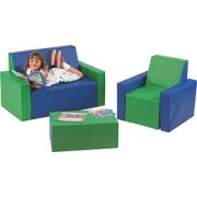 3 Pc Upholstered Children Furniture with Arms