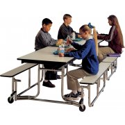 Uniframe Mobile Cafeteria Table - Chrome, 139.5