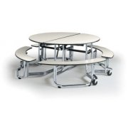 Uniframe Round Unit  with Benches - Chrome
