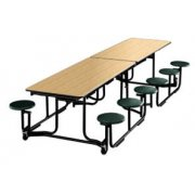 Uniframe Mobile Cafeteria Table - 12 Stools, Painted, 140