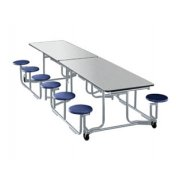 Uniframe Mobile Cafeteria Table - 12 Stools, Chrome, 120
