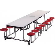 Uniframe Mobile Cafeteria Table - 16 Stools, Chrome Frame