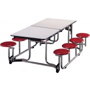 Uniframe Mobile Cafeteria Table - 8 Stools, Painted Frame