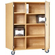 Mobile Storage Cabinet with Doors 6 Shelves w/Partition