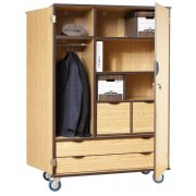 Mobile Storage Cabinet w/Doors 4 Shelves 2 Drawers