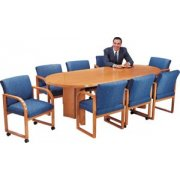 Solid Wood Racetrack Conference Table (96