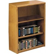 Contemporary Oak Veneer Bookcase (3'Wx3'H)