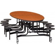 Oval Cafeteria Table-Plywood, ProtectEdge, Chrome, 12 Stools