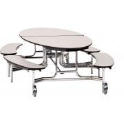 NPS Oval Bench Cafeteria Table - Plywood, Chrome (10x6')