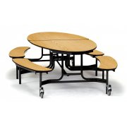 NPS Folding Oval Bench Cafeteria Table (10x6')