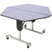 Adjustable-Ht Cafe Table 48in Hex Top Chrome Legs