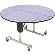 Adjustable-Ht Cafe Table 48in dia Top Chrome Legs