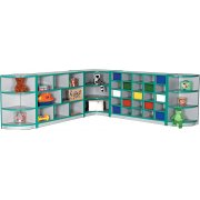 Color-Banded Full Corner Preschoool Cubby Storage