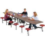 Stow-Away Mobile Cafeteria Table - 12 Stools (10')