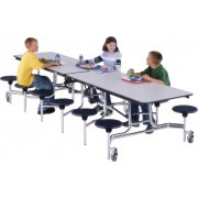 Stow-Away Mobile Cafeteria Table - Permatuff, 8 Stools (8')