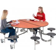 Stow-Away Round Cafeteria Table- Permatuff, 8 Stools (60