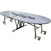 Stow-Away Folding Oval Cafeteria Table (121x46