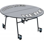 Stow-Away Mobile Round Folding Table - 72""