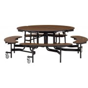 "NPS Folding Round Bench Cafeteria Table – Plywood, 60"" dia."