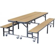 NPS Convertible Bench Cafeteria Table - Plywood, T-Mold (6')