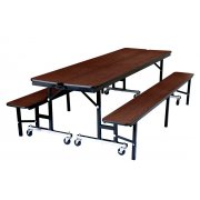 Convertible Bench Cafeteria Table - Particleboard, T-Mold (7')