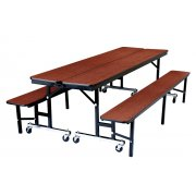 NPS Convertible Bench Cafeteria Table - MDF, ProtectEdge (8')
