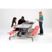 NPS Cafeteria Table with Chrome Frame, 16 Stools (12')