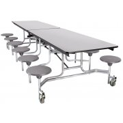 NPS Cafeteria Table- Chrome, MDF, ProtectEdg, 12 Stools (10')