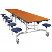 NPS Cafeteria Table - Chrome, Plywood Core, 12 Stools (12')