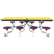 Mobile Cafeteria Table - Plywood Core (8 Stools)