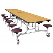 Cafeteria Table - Chrome, Plywood, ProtectEdge, 12 Stool (12')