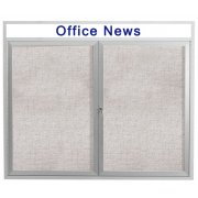Weatherproof Illuminated Cork Board 2-Door w/Header (4x3')
