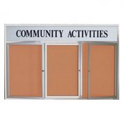 Outdoor Enclosed Cork Board w/Header (3 Door 6'x3')