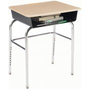 Deluxe Adj. Height Open Front School Desk - HP Top, U Brace