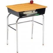 Deluxe Adj. Ht. Open Front School Desk - WoodStone, U Brace
