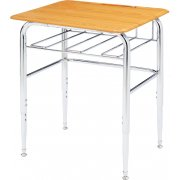 Adjustable Height Open View School Desk - WoodStone, U Brace