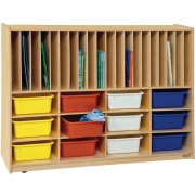 Portfolio and Cubby Storage w/ 12 Colored Cubby Bins