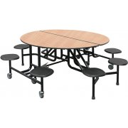 PMH Easy-Fold Round Cafeteria Table - 8 Stools (60