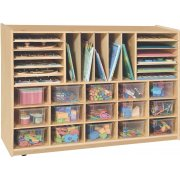 Multi Purpose Storage with 15 Clear Cubby Bins