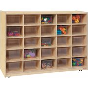 Mobile Cubby Storage w/ 25 Clear Cubby Bins