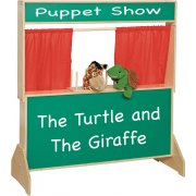 Wooden Kids Puppet Theater with Chalkboard