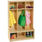 Wood Preschool Locker - 3-Section, Offset Edge