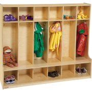 Wood Preschool Locker - 6-Section, Offset Edge