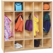 Wood Preschool Locker - 5-Section, Flush Front