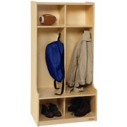 2 Section Wood Locker with Offset Edge
