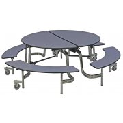 Easy-Fold Mobile Round Cafeteria Table - Chrome (60