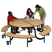 Mobile Round Cafeteria Table - Painted Frame, 60