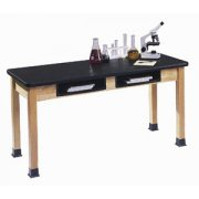 Science Lab Table with Epoxy Resin Top and Book Boxes (72x30x36